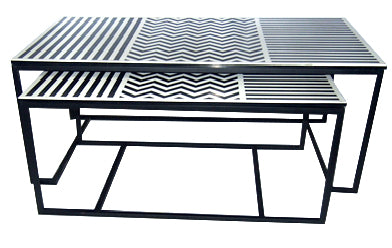 Black And White Bone Inlay Console - Z0027
