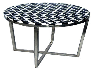 Bone Inlay Round Side Table in Black and White Checks- Z0029