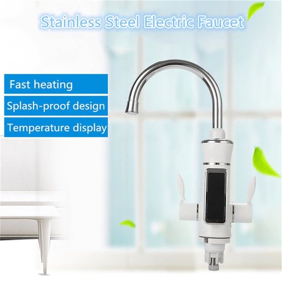 STAINLESS STEEL INSTANT HOT AND COLD WATER MIXER TAP 360 DEGREE ELECTRIC WATER HEATER FAUCET