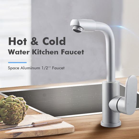 SPACE ALUMINUM KITCHEN SINK FAUCET HOT AND COLD WATER MIXER TAP ROTATABLE LEAD-FREE