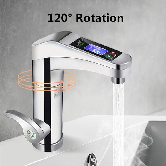 INTELLIGENT INSTANT DIGITAL HOT WATER FAUCET HOT AND COLD WATER HEATER, EU PLUG (WHITE)