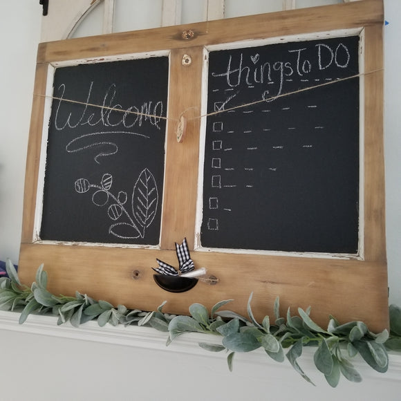 Double Chalkboard- Reclaimed Materials