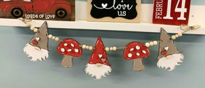 Gnome and Mushroom Banner Shapes- 1 set
