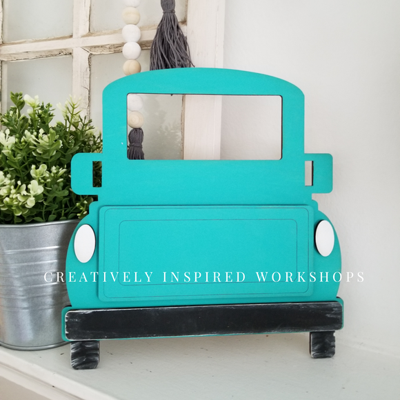 FREE SHIPPING, PAINTED Interchangeable Vintage Truck with 4 Interchangeable Pieces!