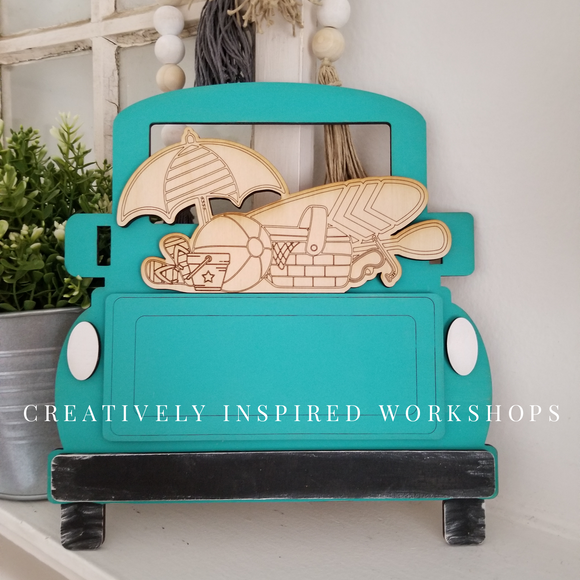 FREE SHIPPING Interchangeable Vintage Truck with Interchangeable Pieces! Summer Scene, Tree, Pumpkins, Flower Bouquet
