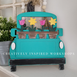FREE SHIPPING Interchangeable Vintage Truck with Interchangeable Pieces! Flower Pots, Flag, Pumpkin, Tree
