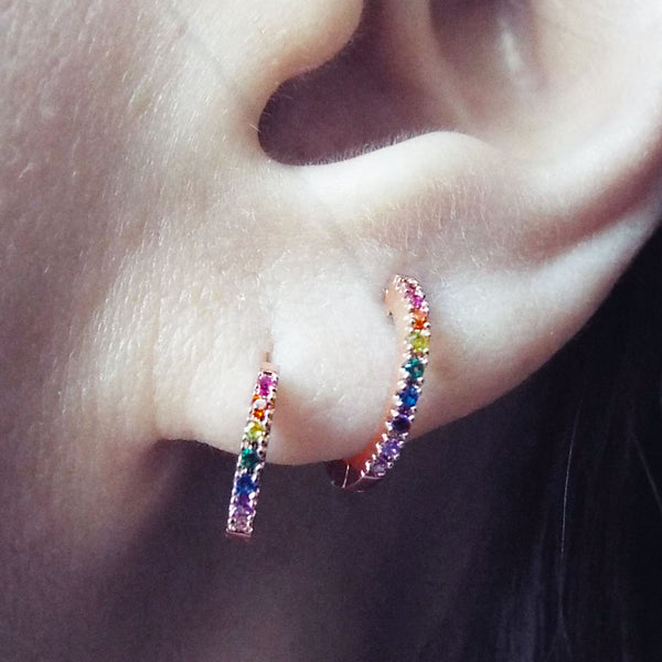 Rainbow multi color CZ Pave Huggie Earrings