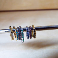 Blue Sapphire CZ pave Huggie Earrings