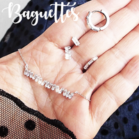 Baguette Diamond CZ Huggie Earrings