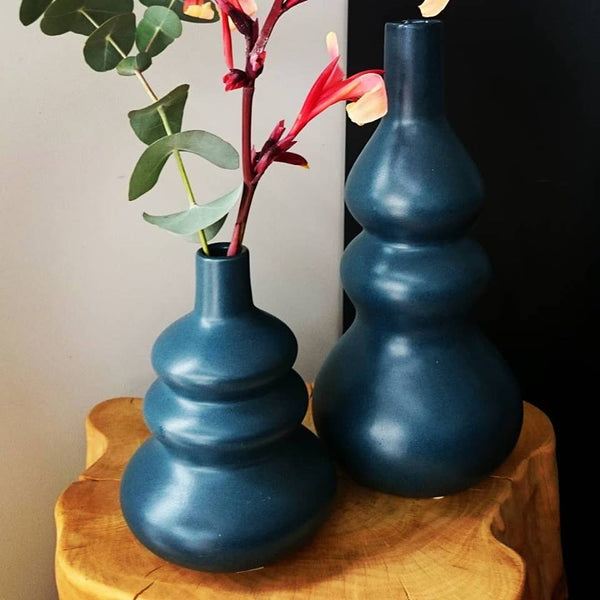 Buy Broste 'Curves' Short Vase in Orion Blue, Black & Dane, Westport