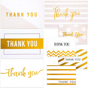 Gold Thank You Cards (48 Pack)