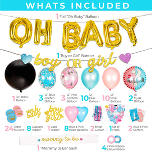 Gender Reveal Party Supplies - (116 Pieces)