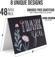 Load image into Gallery viewer, Chalkboard Floral Thank You Cards (48 Pack)