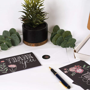 Chalkboard Floral Thank You Cards (48 Pack)