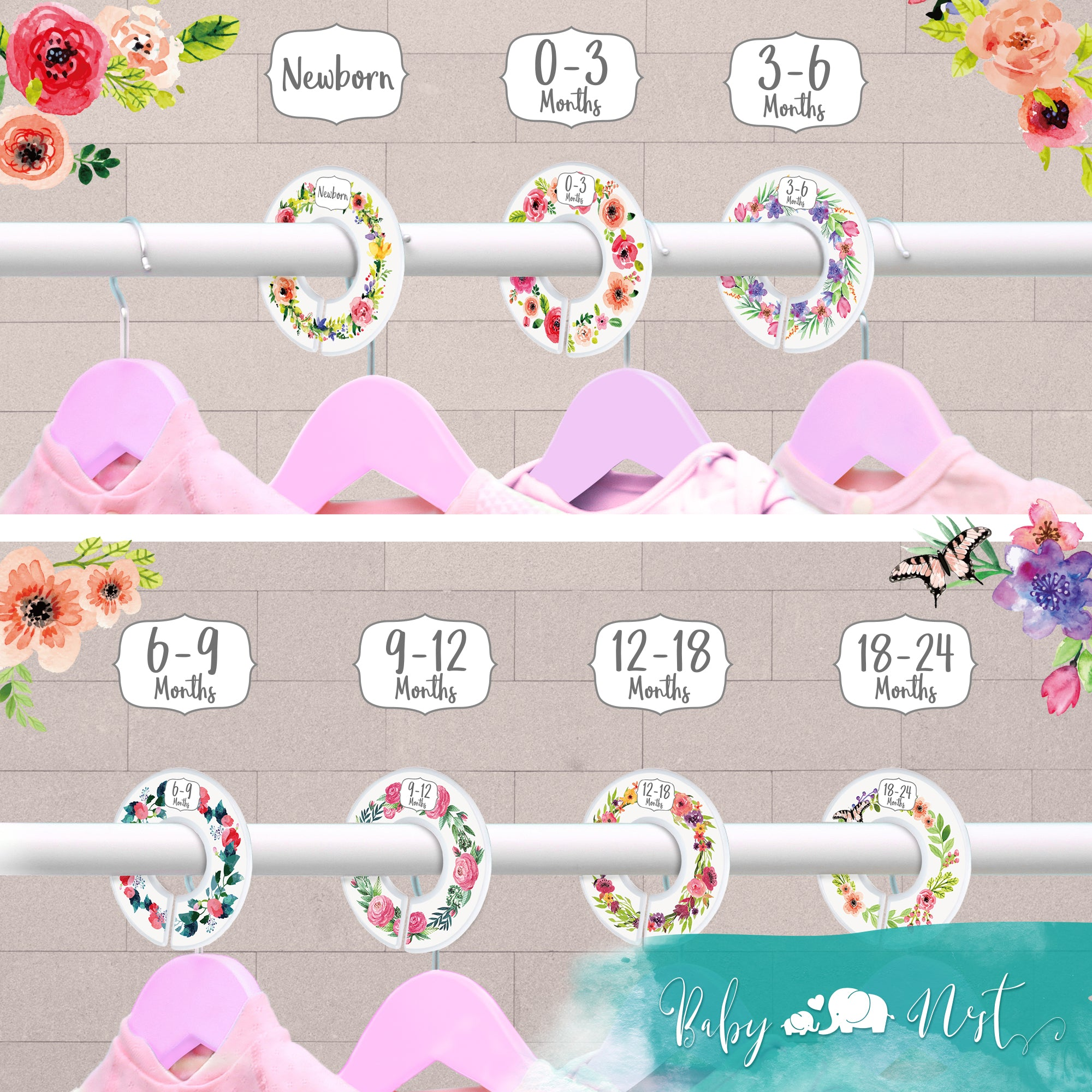3a48b26d4e0c4 Baby Nest Designs Closet Dividers for Baby Clothes [Floral Bouquet] - 7x  Baby Clothing Size Age Dividers from Newborn Infant to 24 Months - Floral  Baby ...