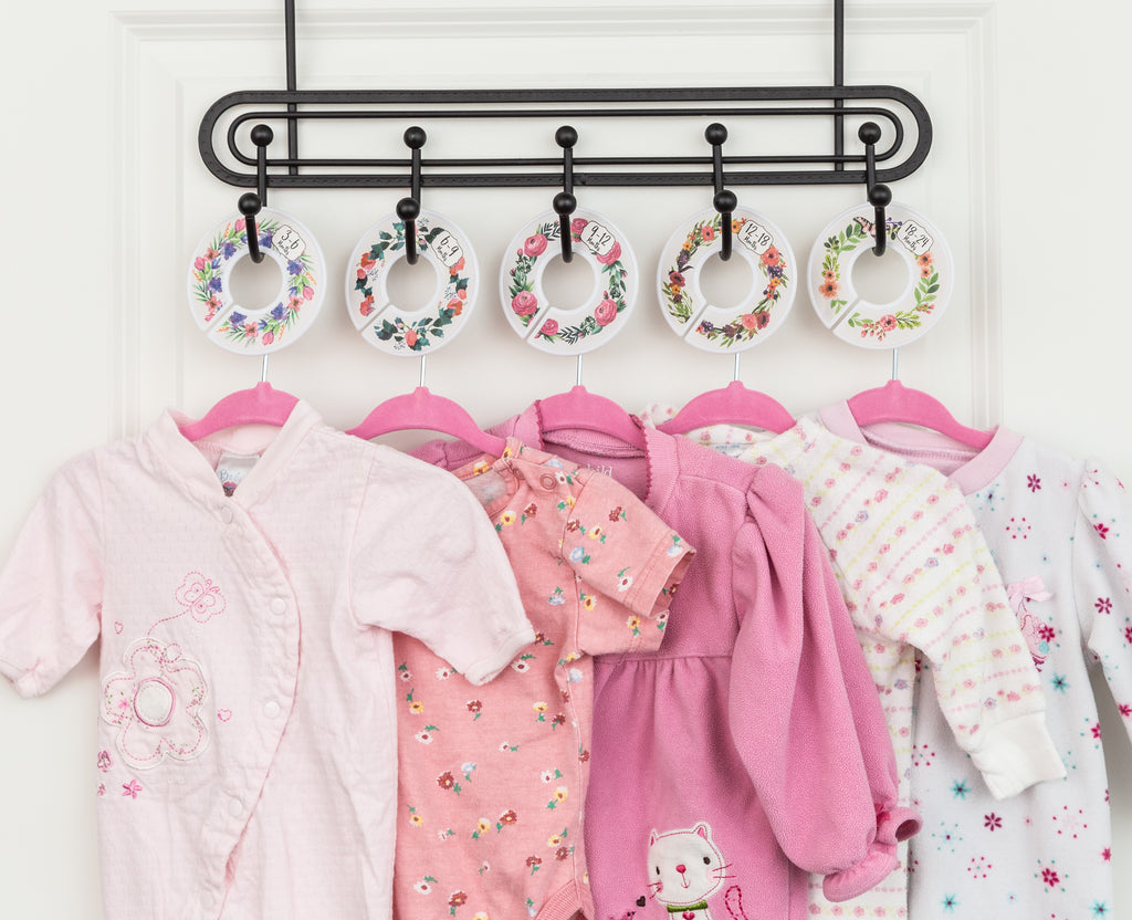98d409e9a3849 ... Baby Nest Designs Baby Hangers and Floral Closet Dividers - The  Ultimate Nursery Organizer with 7X ...