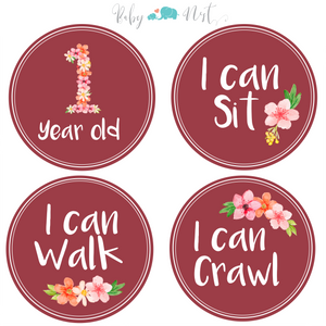 Baby Monthly Milestone Stickers - Flower Bouquet | Set of 16