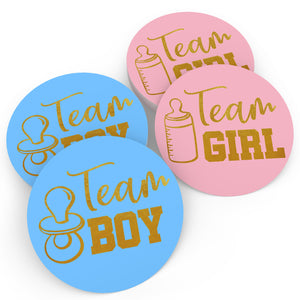 Gender Reveal Stickers Games Team Boy & Team Girl (80 Pieces)