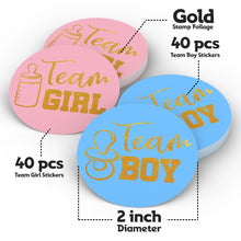 Load image into Gallery viewer, Gender Reveal Stickers Games Team Boy & Team Girl (80 Pieces)