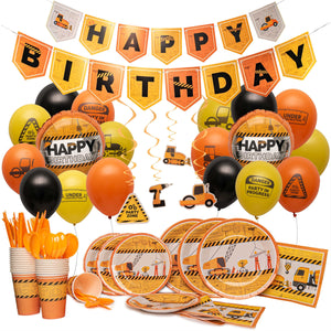 Construction Birthday Party Supplies By Nest Party Designs (179 Pieces) Transportation Party Supplies For Boys or Theme Decorations For Girls Who Love Trucks, Foil Balloons, Builders Hard Hat or Dump Truck Toys