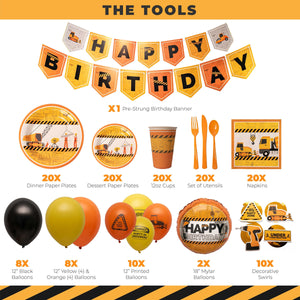 Construction Birthday Party Supplies (179 Pieces)