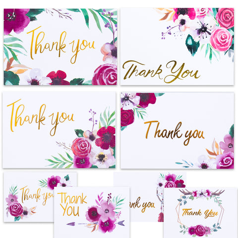 Nest Designs Boho Floral Thank You Cards for Designer Thank You Notes! Bulk Set of 48 Blank Cards with Envelopes