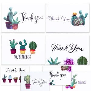 Nest Designs Cactus Thank You Cards for Succulent Thank You Notes! Bulk Set of 48 Blank Cards with Envelopes