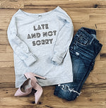 Women's Late Not Sorry 3/4-Sleeve Scoop Neck T-Shirt
