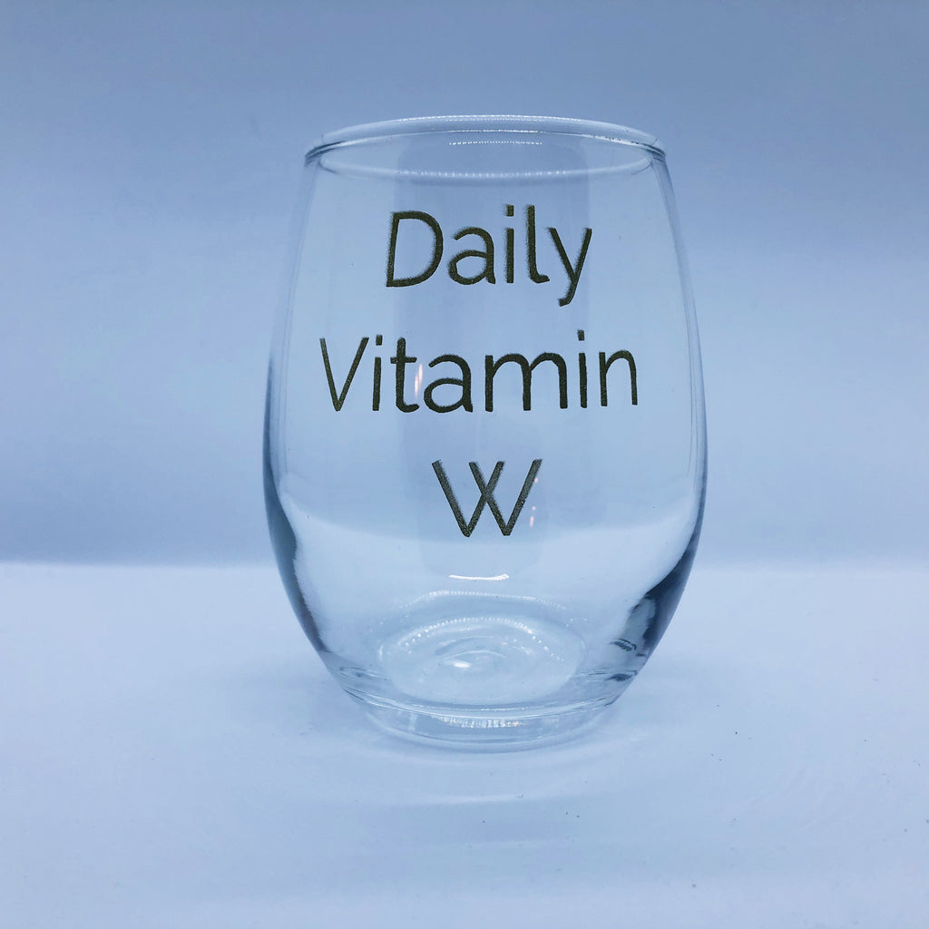 Daily Vitamin W Wine Glass