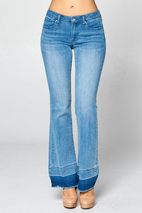 Special A Contrast Bottom Hem boot cut jean