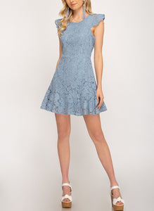 Lovely in Lace dress (Dusty Blue)
