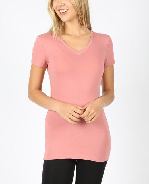 Basic Fitted V-Neck Tee (+ colors)