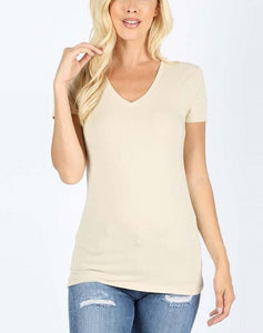 Basic Fitted V-Neck Tee