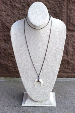 Chain + Horn Pendant Necklace