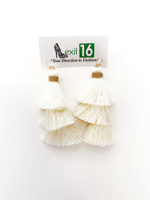 Fish Hook Thread Tassel Earring - Ivory