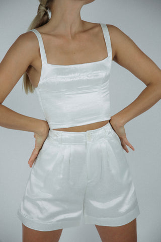 Jewel Shorts in Ivory Silk