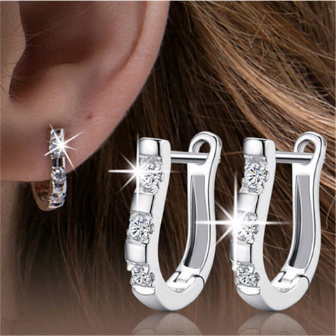 Horseshoe Earrings Silver Plated