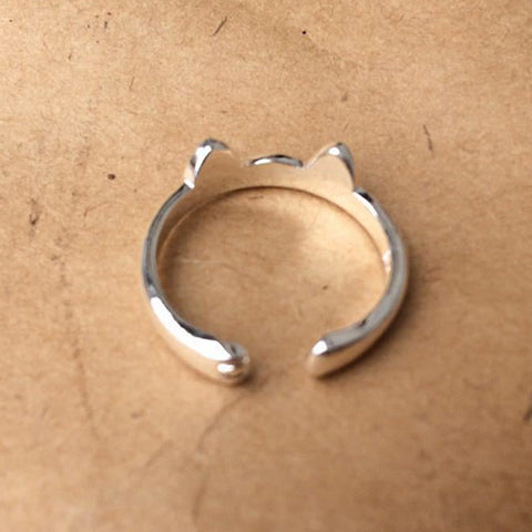 Cat Ear and Paw Ring, Silver Plated