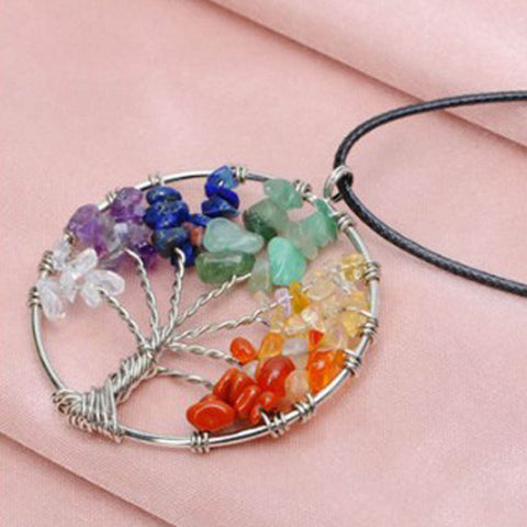 7 Chakra Tree Of Life Quartz Necklace