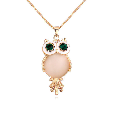 Gem Rhinestone Owl Long Necklace