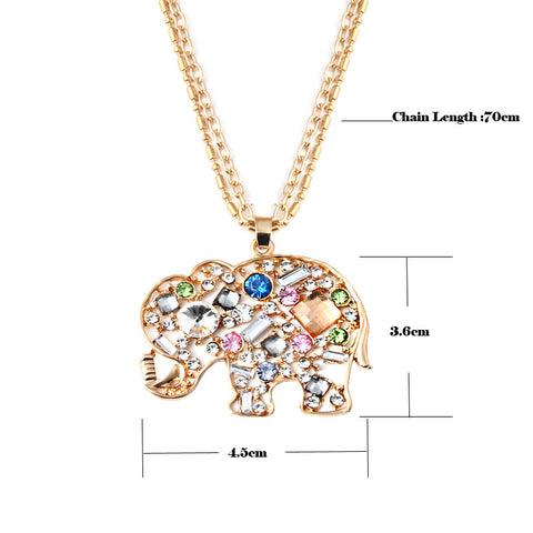 Crystal Rhinestone Elephant Necklace