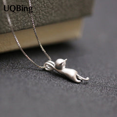 Hanging Cat 925 Sterling Silver Necklaces