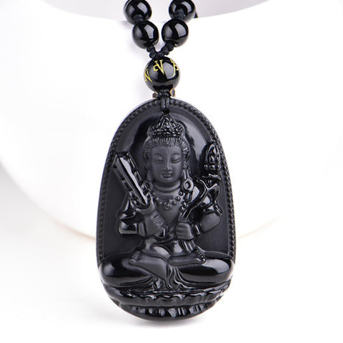 Buddha Lucky Amulet Pendant Necklace - Natural Black Obsidian - 8 Styles