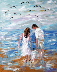 Couple & Child On The Beach - Van-Go Paint-By-Number Kit