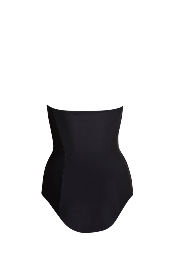 Black bandeau strapless one piece classic swimsuit with rose gold zip