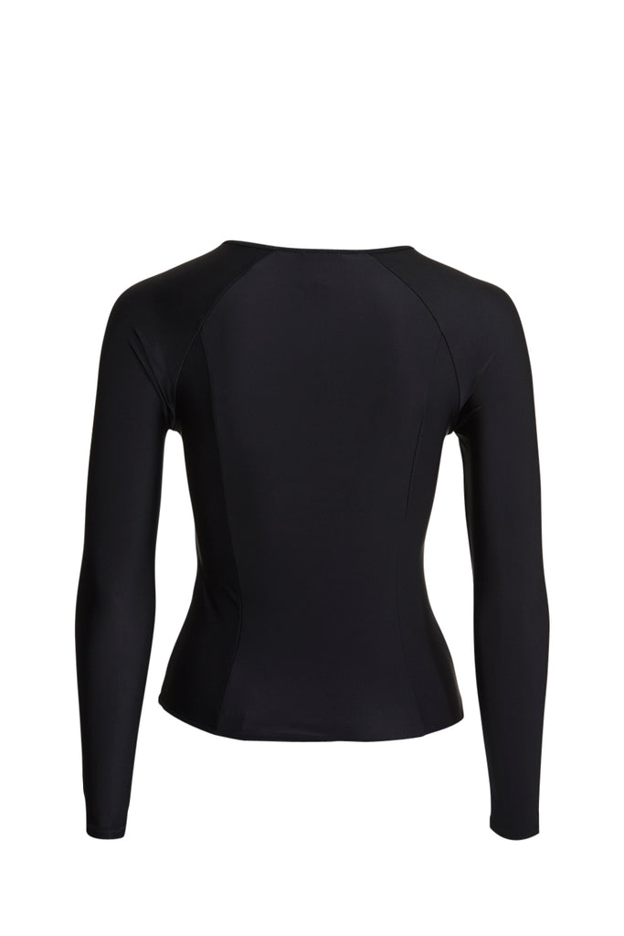 Black rashguard rashie with long sleeves and rose gold zip
