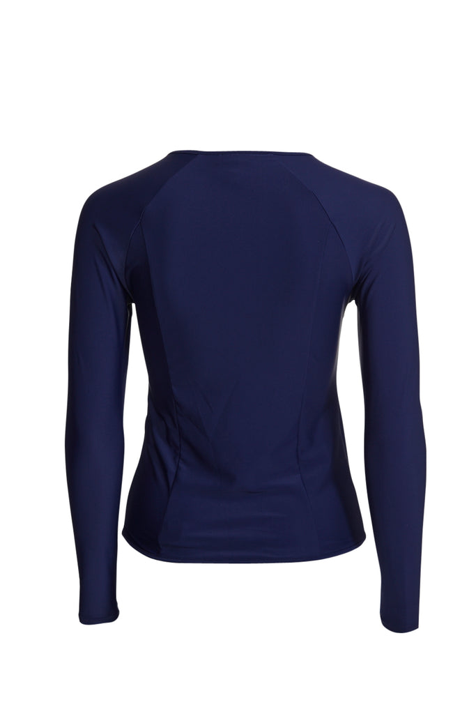 Blue rashguard rashie with long sleeves and rose gold zip