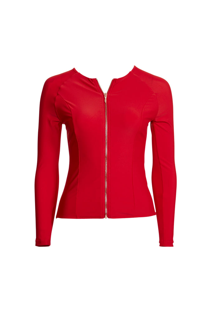 Red rashguard rashie with long sleeves and rose gold zip
