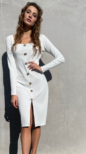 White Long-sleeved Ribbed Dress