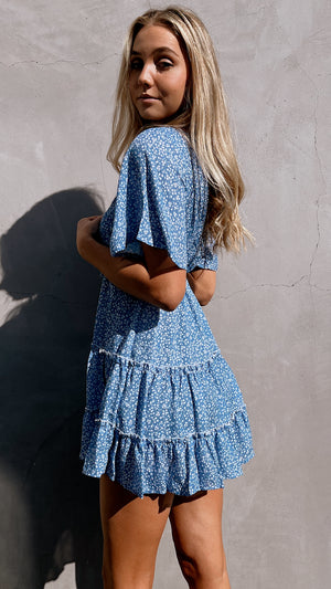 Torrey Blue Dotted Mini Dress